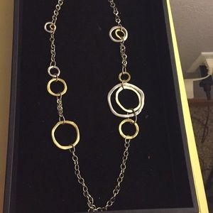 Abstract silver and gold necklace